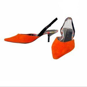 ZARA| Orange Faux Suede Slingback Kitten Heels 35